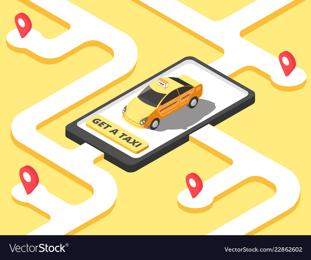 Taxi concept isometric yellow car cab riding for