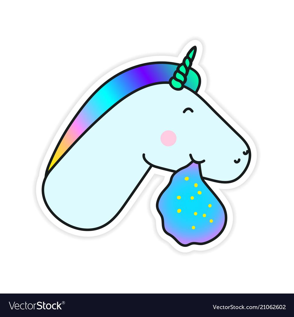 Unicorn vomiting a rainbow fantasy sticker