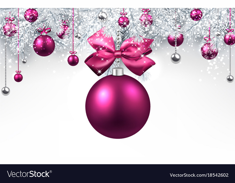 White Background With Pink Christmas Ball Vector Image