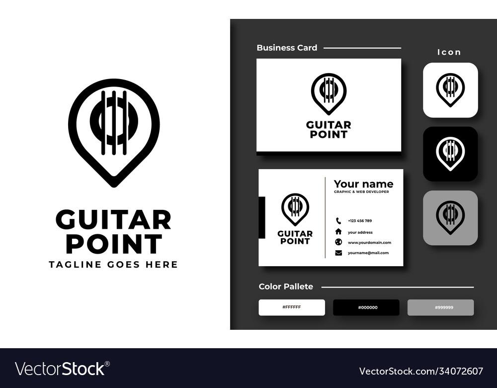 Creative professional trendy guitar point logo