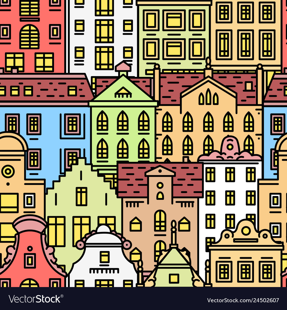 Europe house or apartments seamless pattern cute
