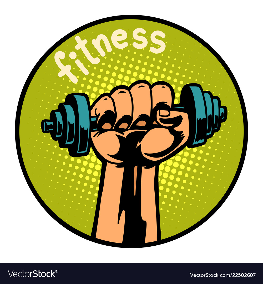 Fitness man hand with dumbbell icon symbol circl