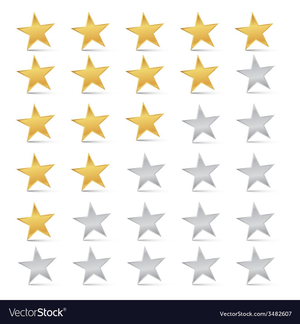Gold And Silver Stars Set Rating Symbols Vector Image