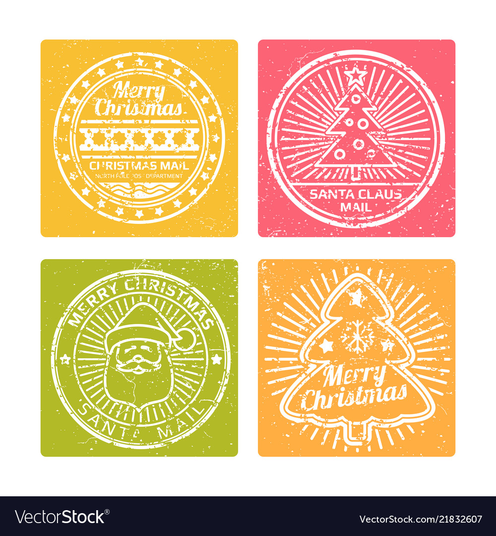 Grunge winter christmas banners with holidays vector