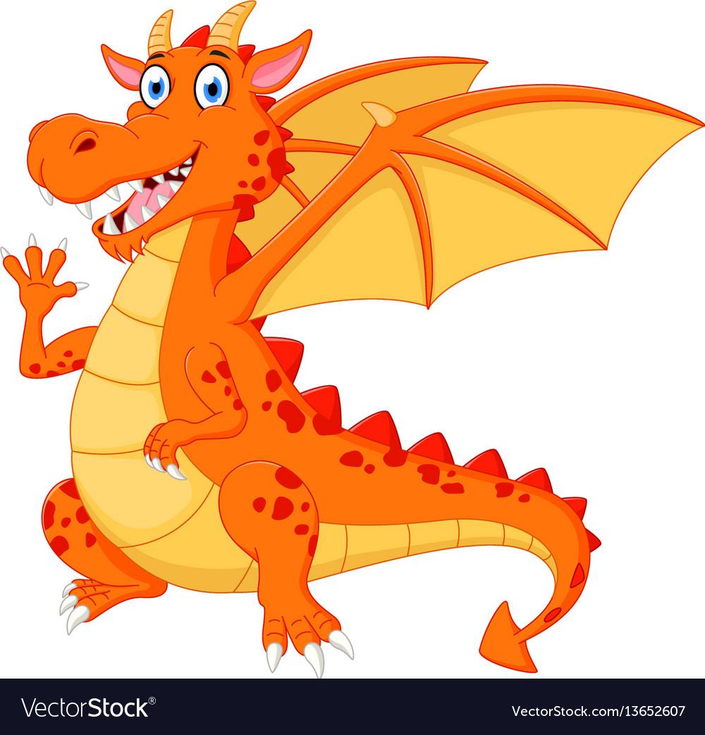 Happy dragon cartoon waving hand