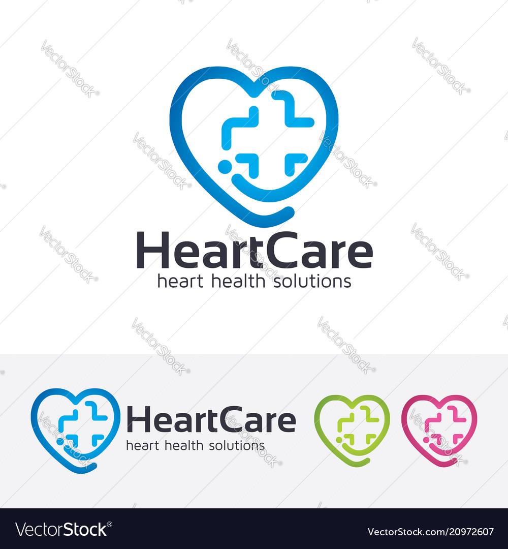 Heart care logo design vector image