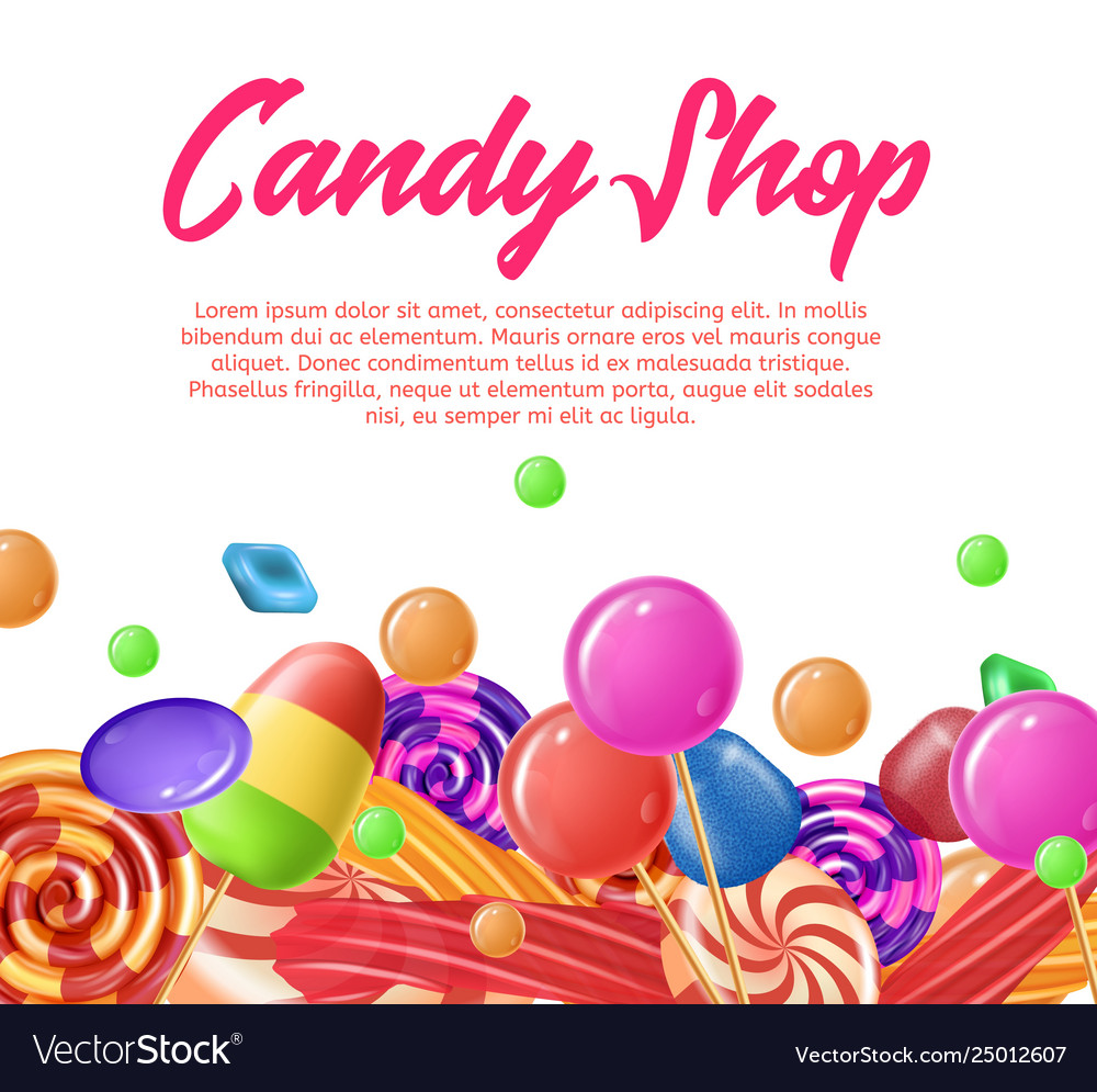 Lettering written candy shop banner landing page