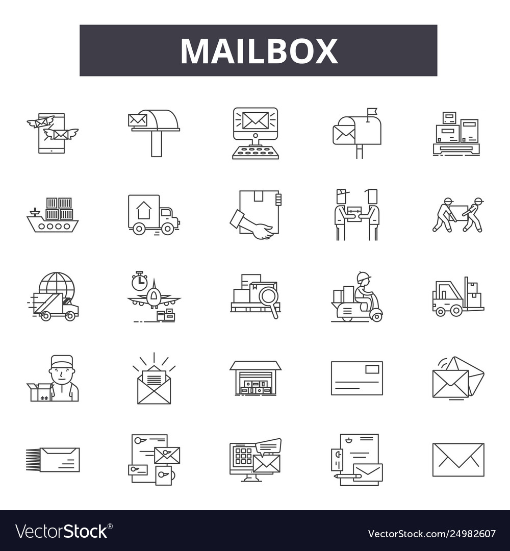 Mailbox line icons signs set outline