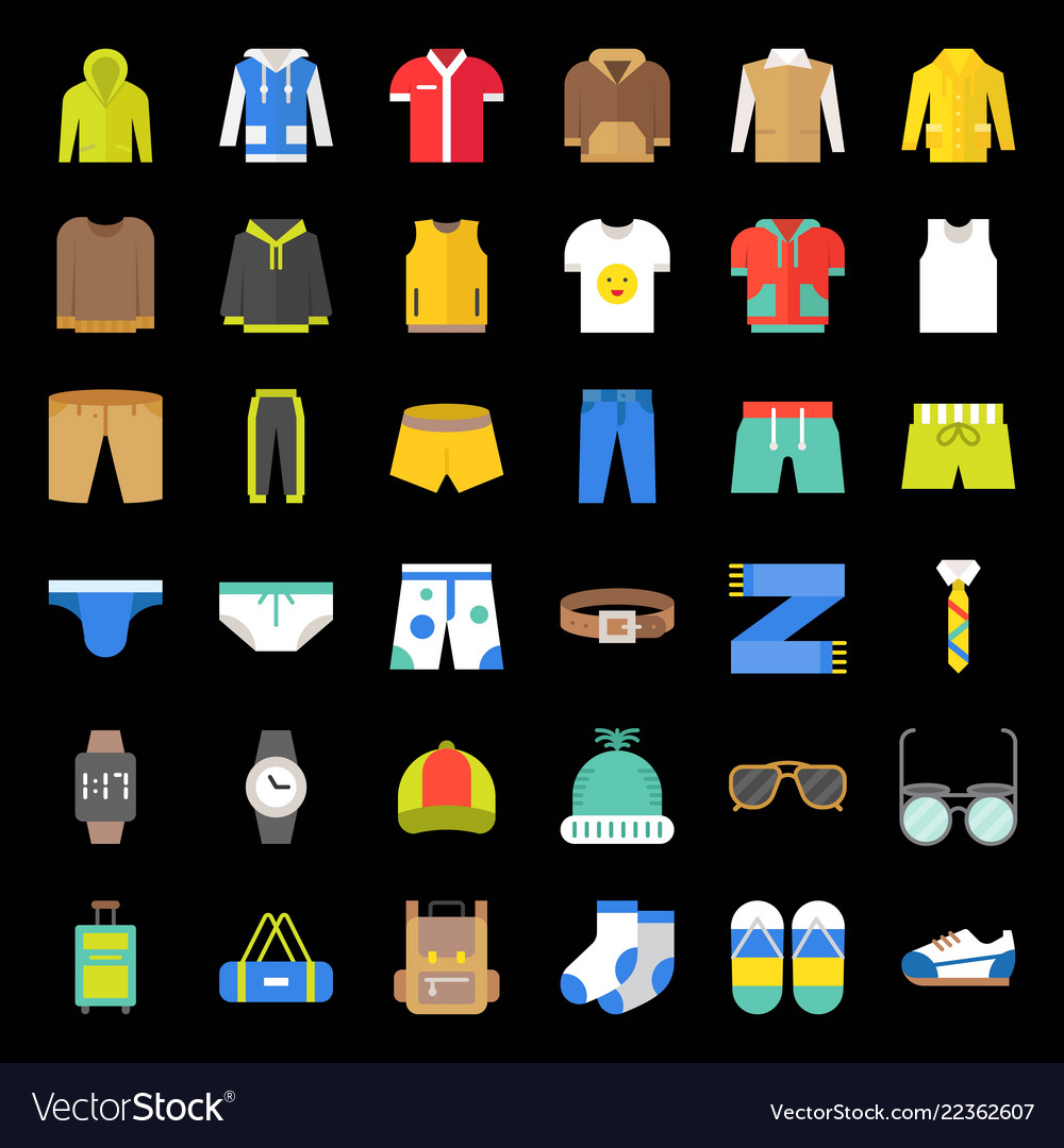 Male clothes and accessories flat icon set 2
