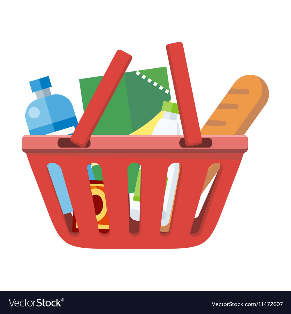Red Shopping Basket with Different Products vector image