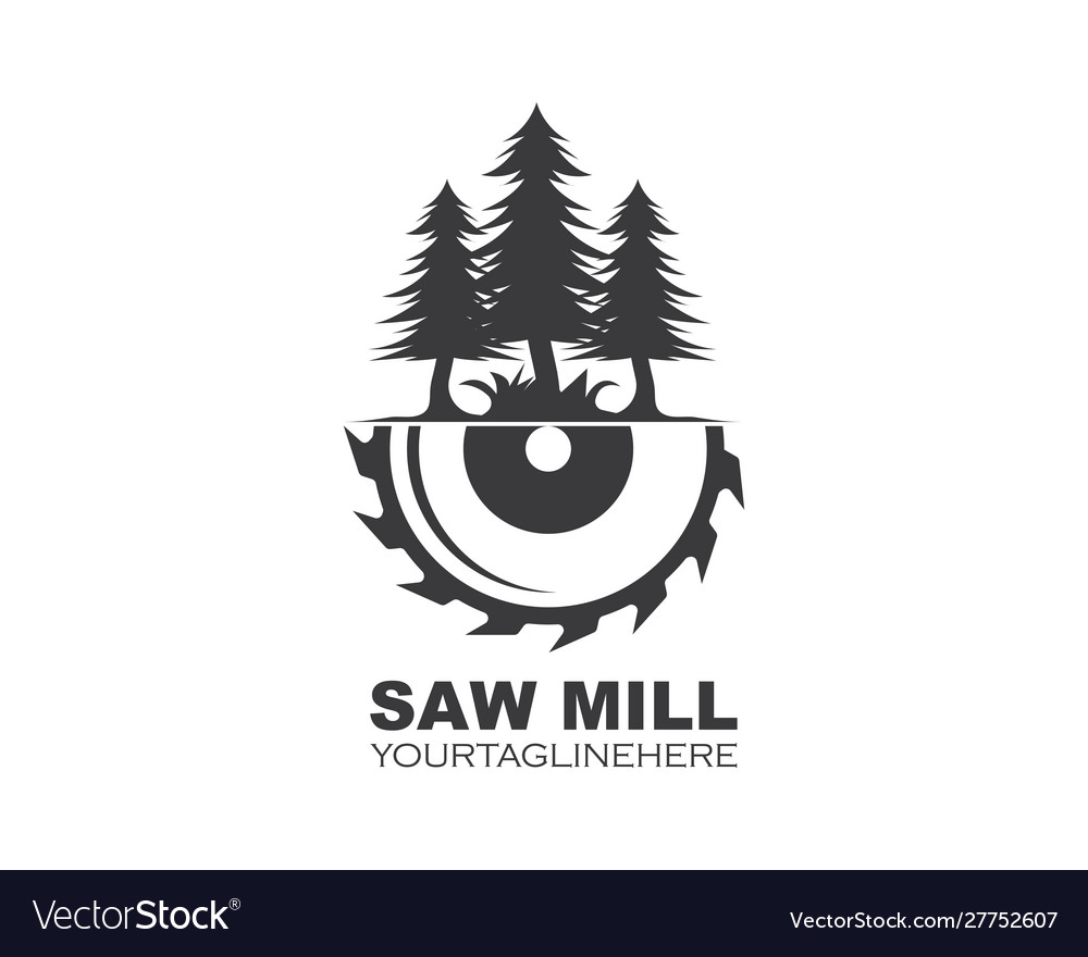Saw and pines tree logo icon saw mill wooden