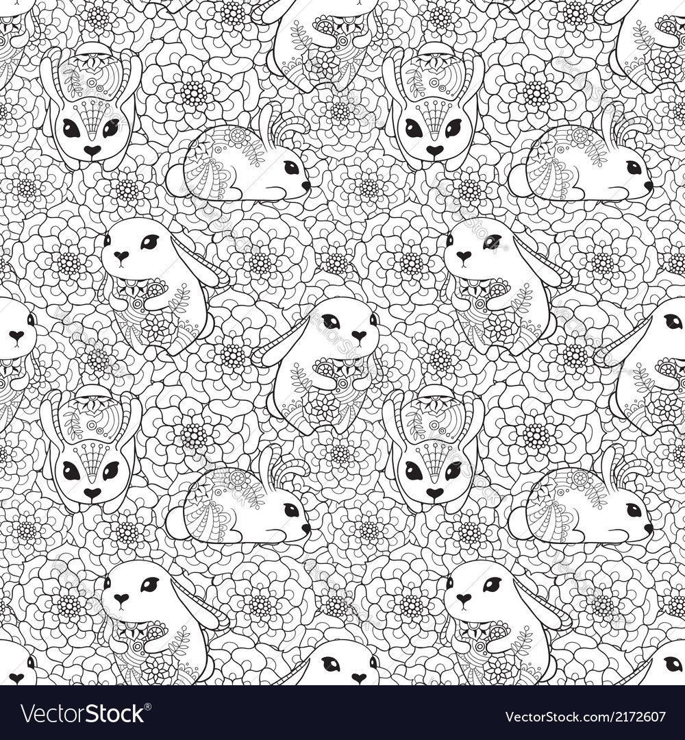 Vintage seamless pattern with bunnies and flowers