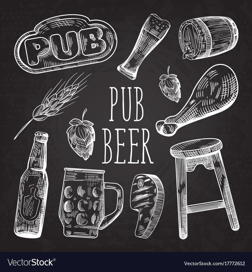 Beer hand drawn menu poster banner on chalkboard