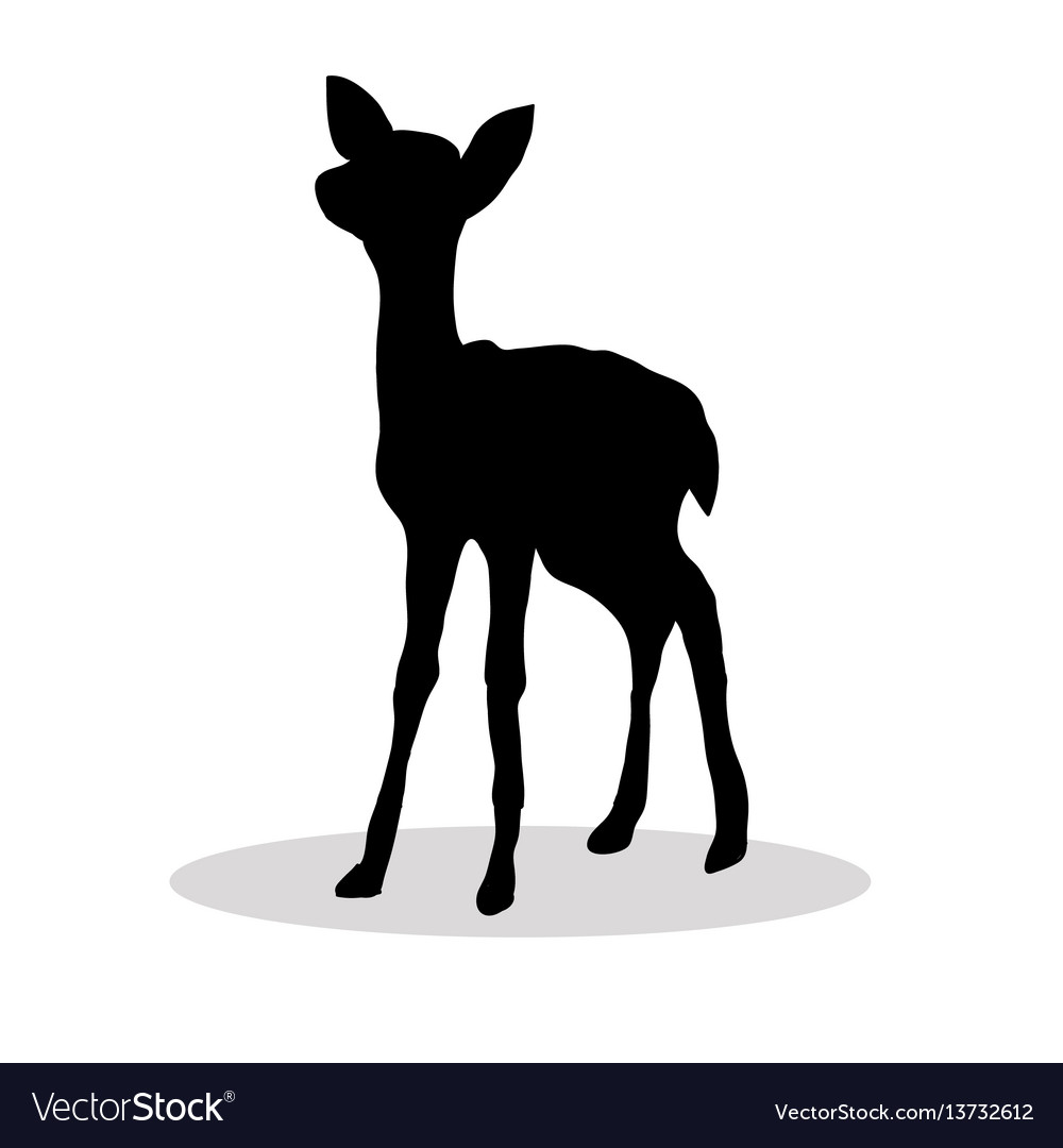 Black silhouette fawn white background