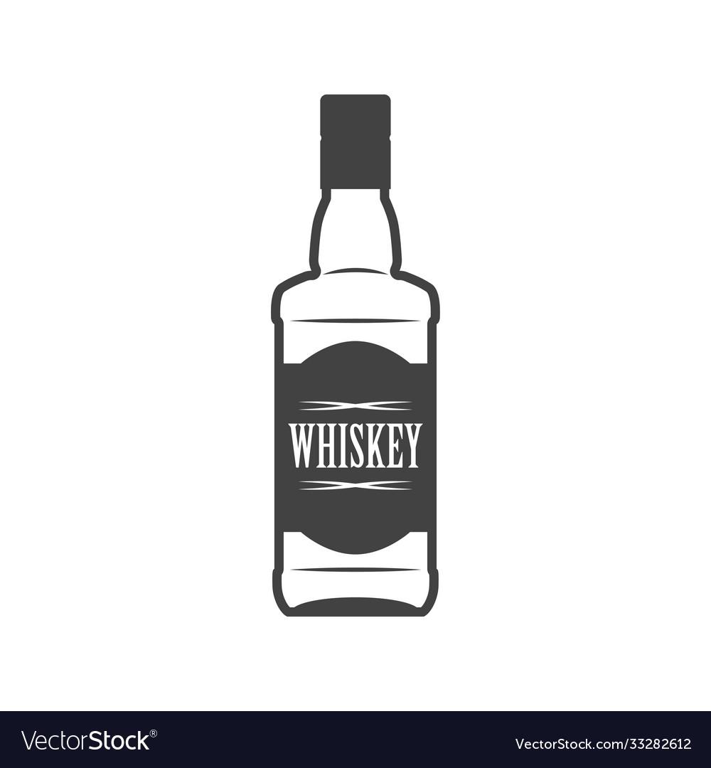 Bottle whiskey flat line icon