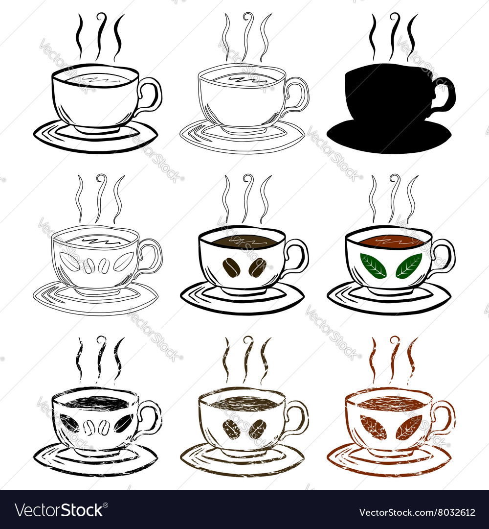 Cup Of Tea and Coffee Hand drawn set