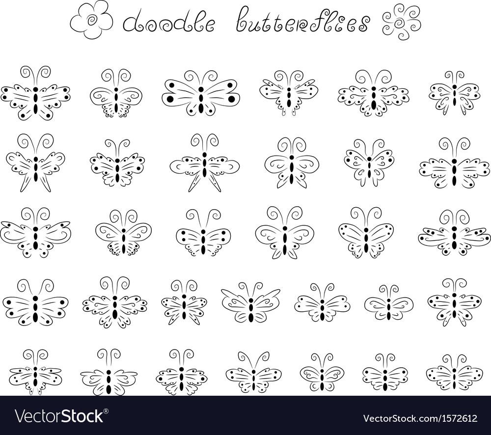 Cute doodle butterflies vector image