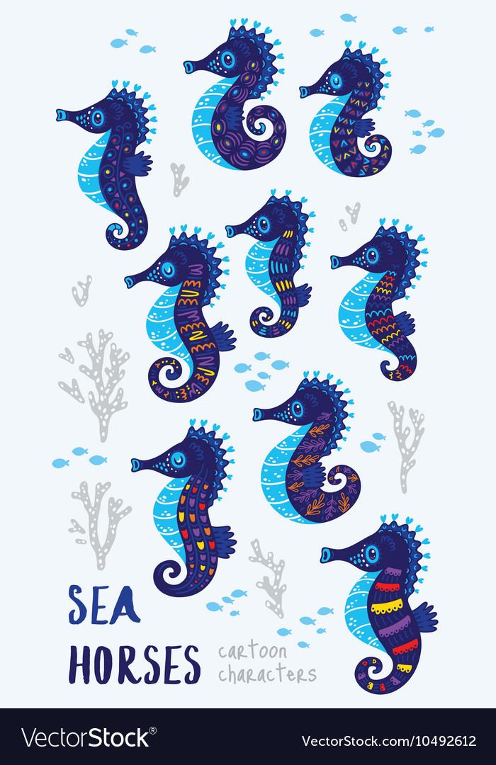 Cute Seahorses cartoon characters