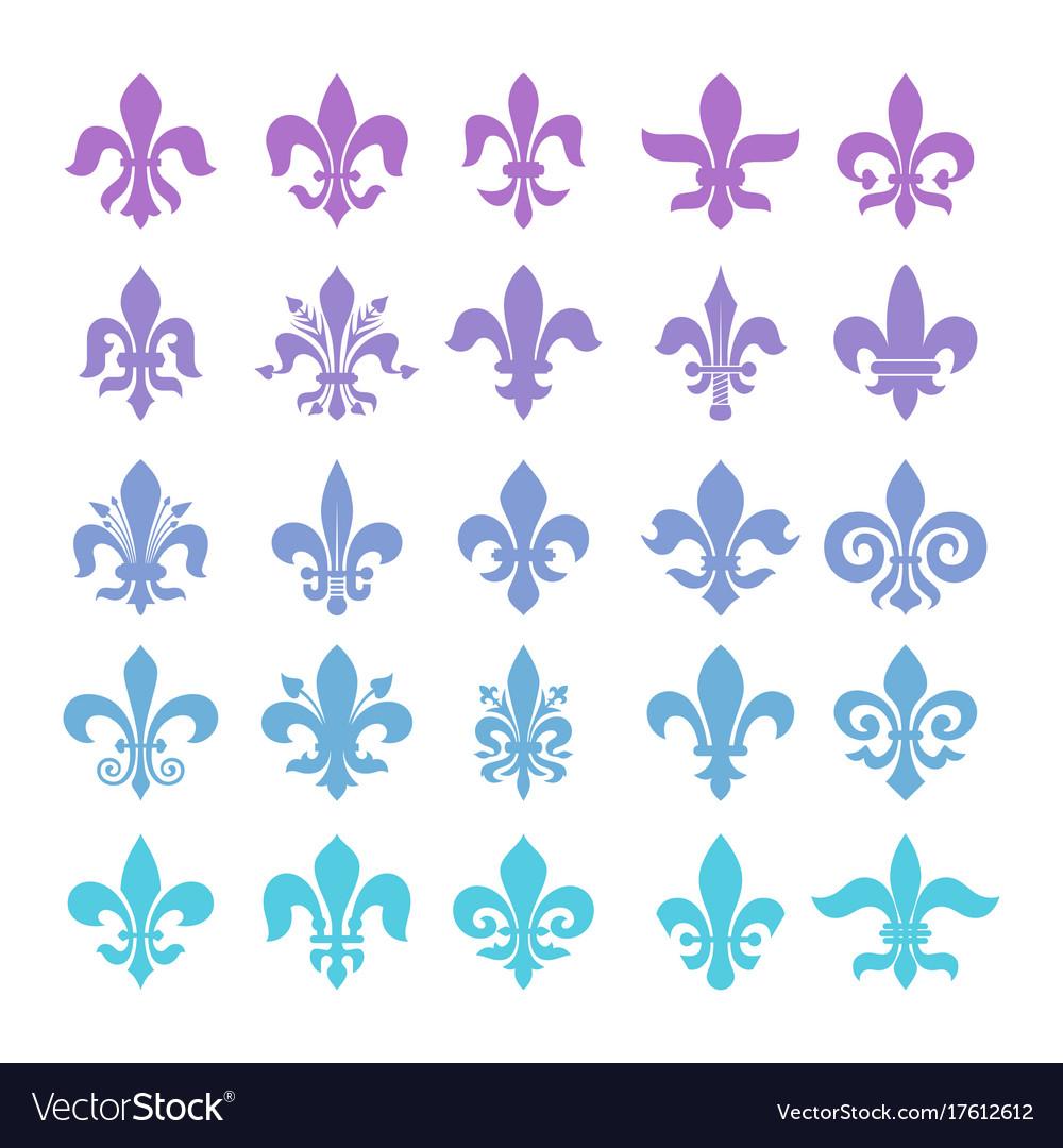 Fleur de lis symbols set