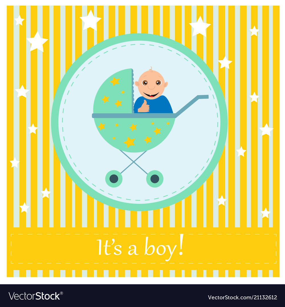 Greeting card to newborn baby it s a boy vector image m4hsunfo