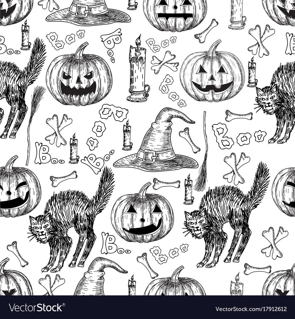 Halloween holiday seamless pattern of