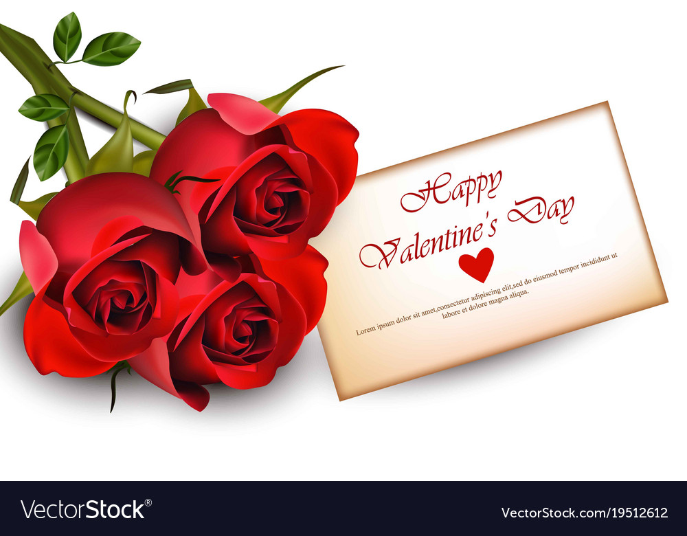 Happy valentine day card with red roses realistic