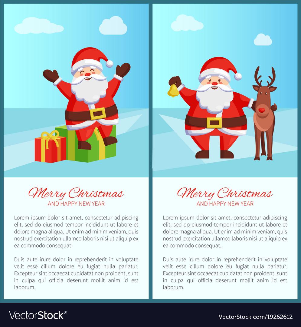 Merry christmas santa and deer vector image