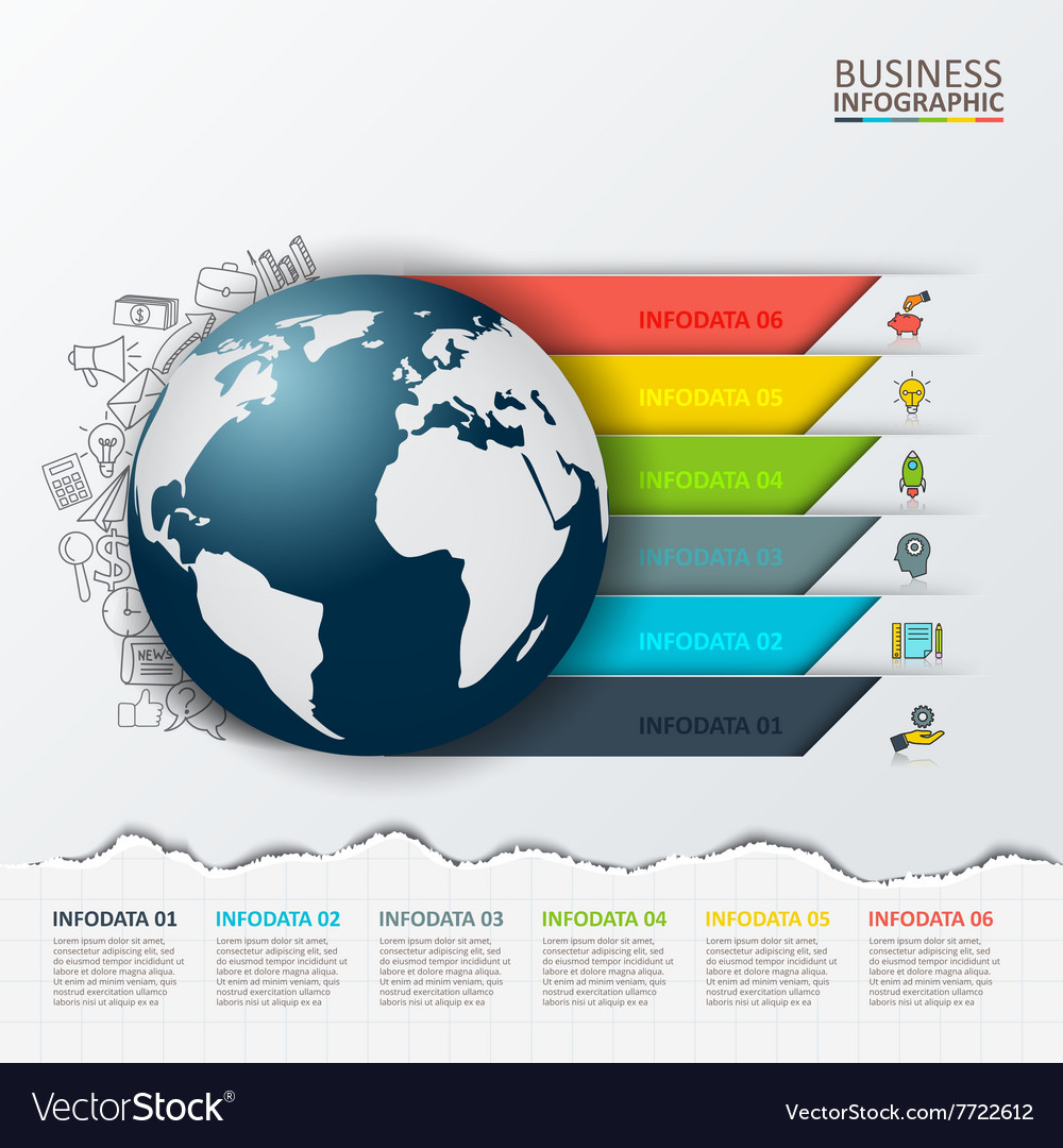 Modern infographics global template vector image