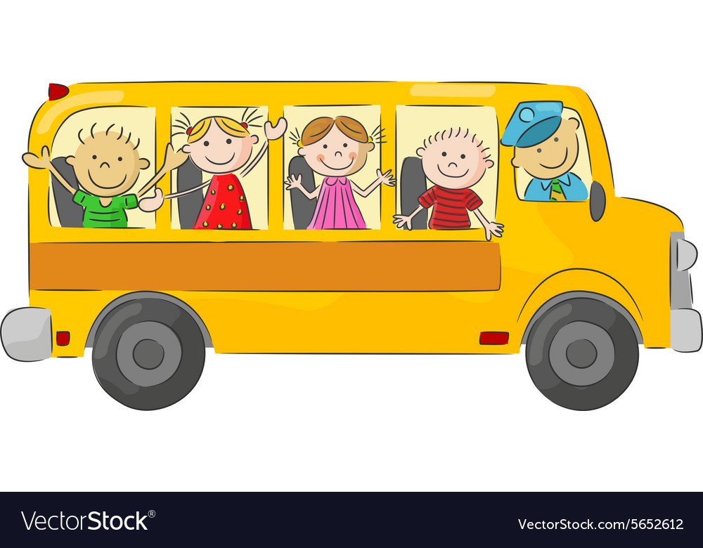Kids Go On The Bus To School
