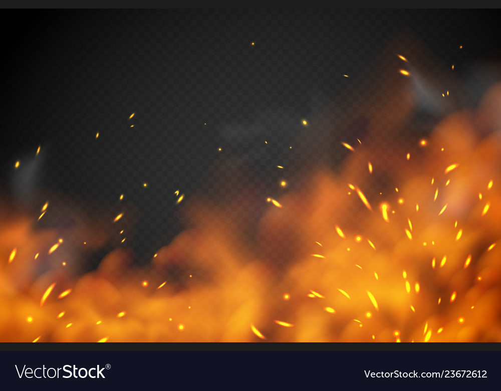 Smoke Fire Effect Burning Embers Red Hot Metal Vector Image