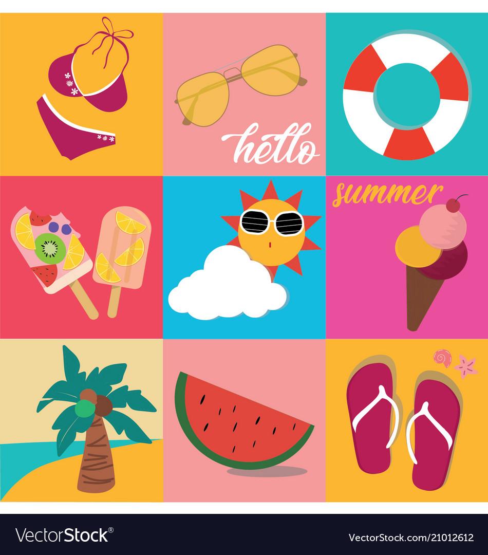 Vintage bright pastel colour summer icon set