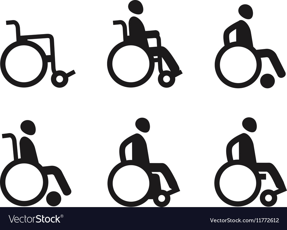 Wheelchair or invalid disabled Icon set vector image