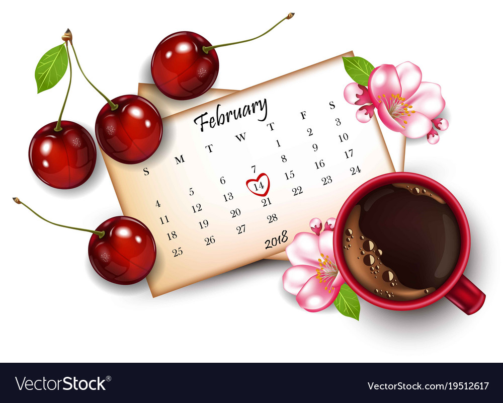 14 february calendar with red mark