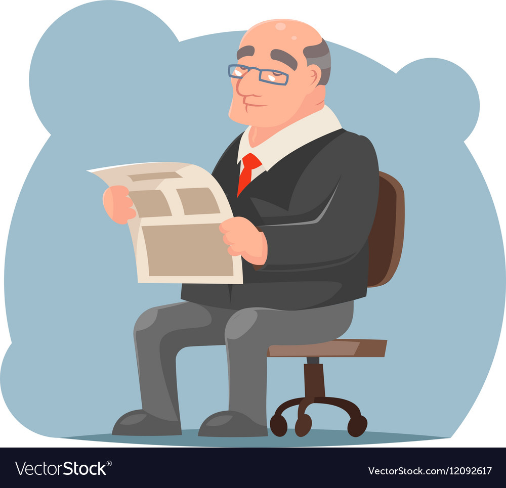 Adult Businessman Old Sit Read Newspaper Character vector image