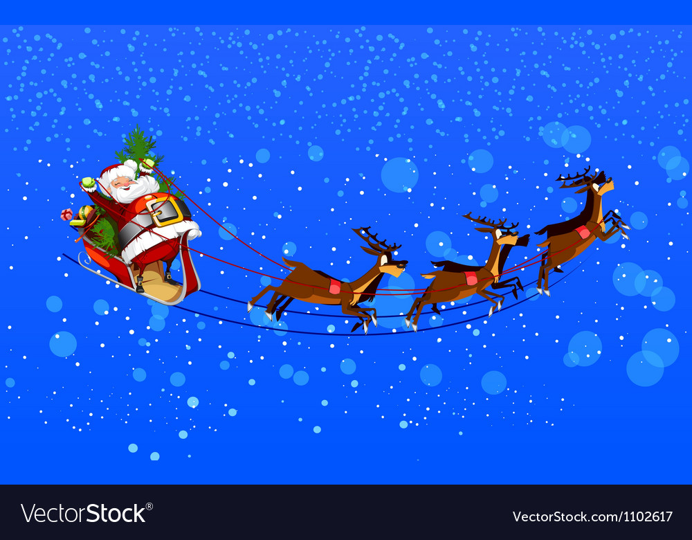 Background with Santa Claus flying his sleigh