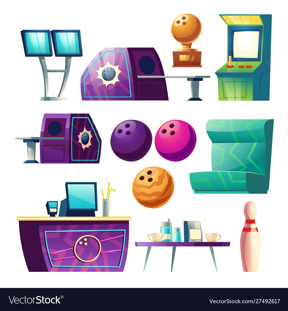 Bowling club equipment icons design elements set