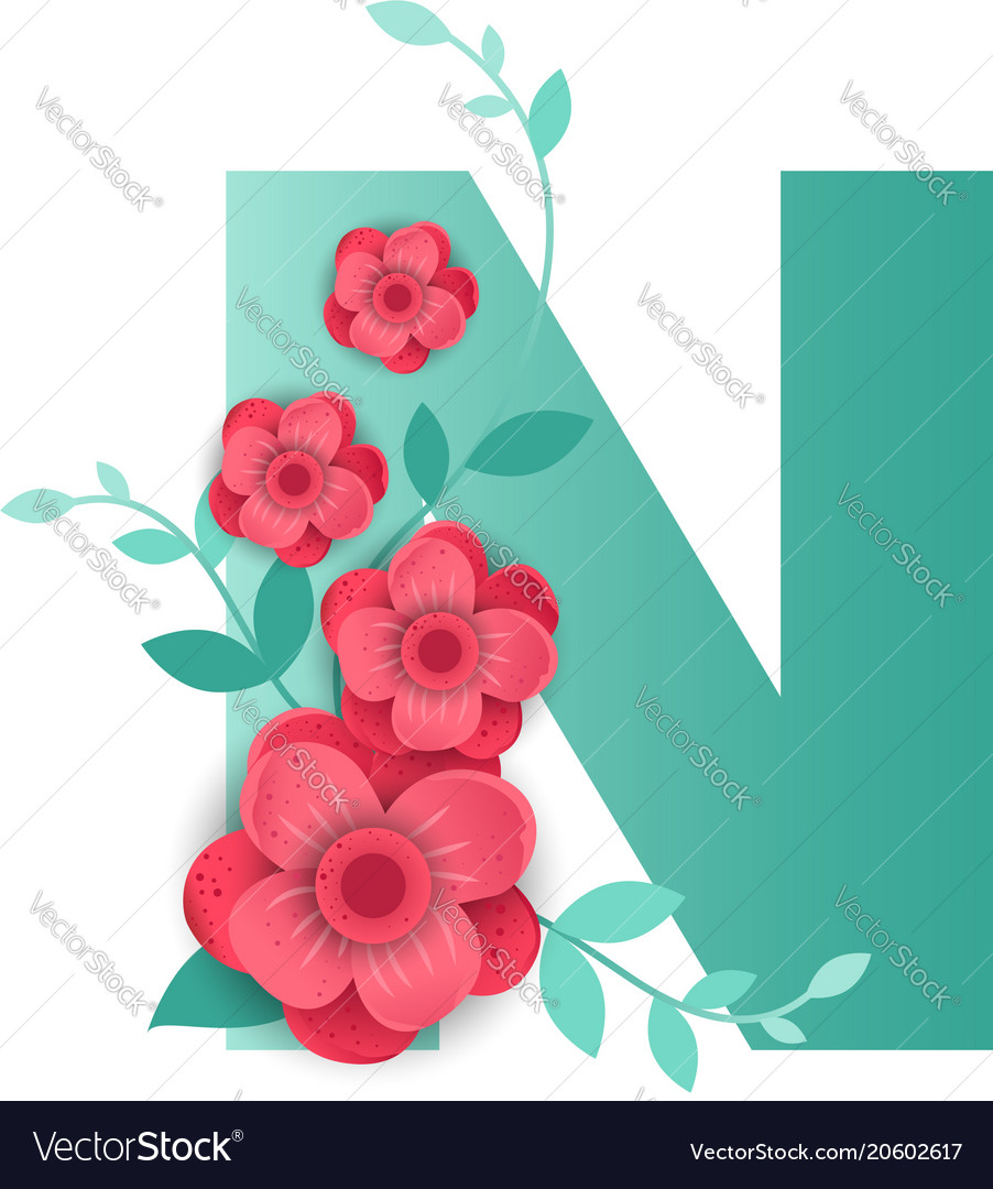 Color letter n with beautiful flowers royalty free vector color letter n with beautiful flowers vector image izmirmasajfo