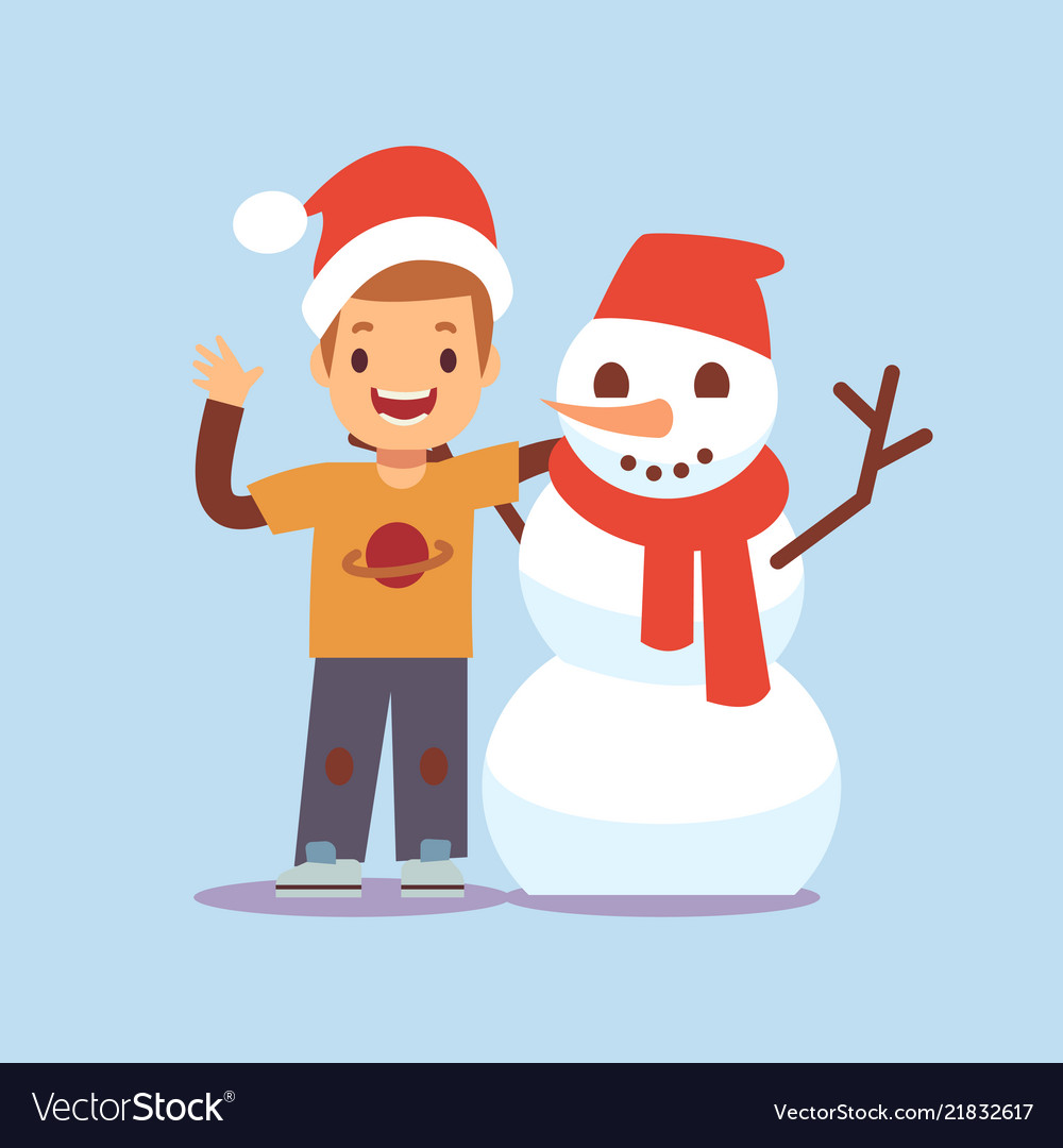 Happy boy and snowman christmas party cartoon