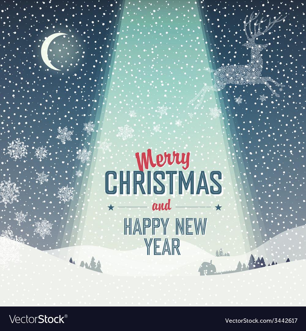 Merry Christmas Card Calm Winter Scene Royalty Free Vector