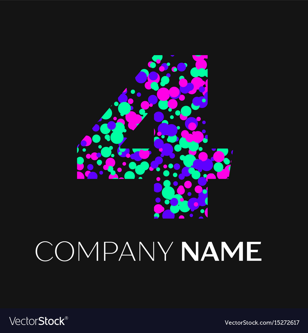 Number four with pink purple green particles vector image