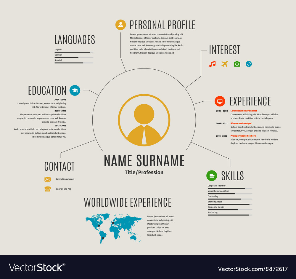 resume web template cv with icons royalty free vector image