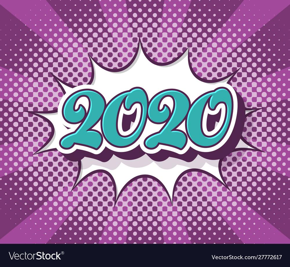 Retro pop art new year 2020 banner