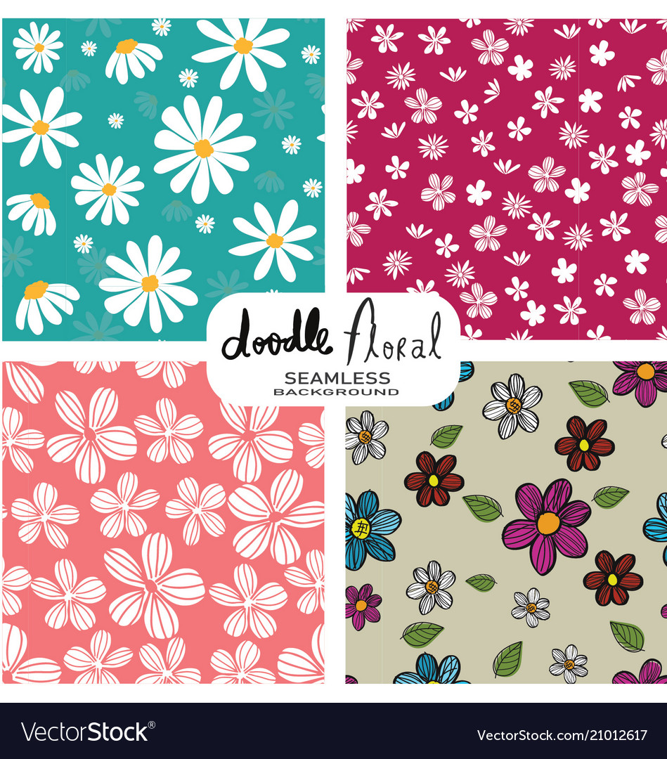Set of doodle vintage flowers pattern seamless