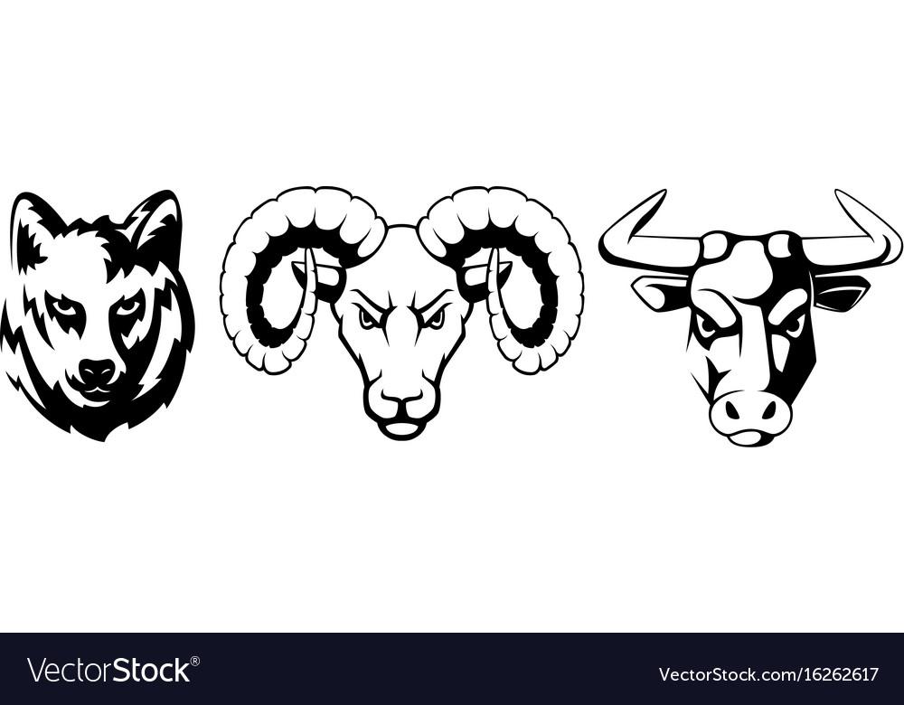 Sport emblems set with different animals wolf