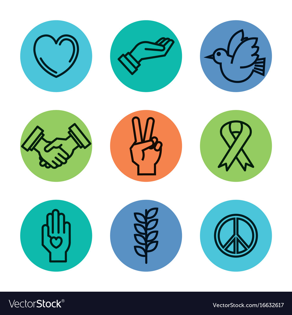 Symbols Peace For International Peace Day Icons Vector Image