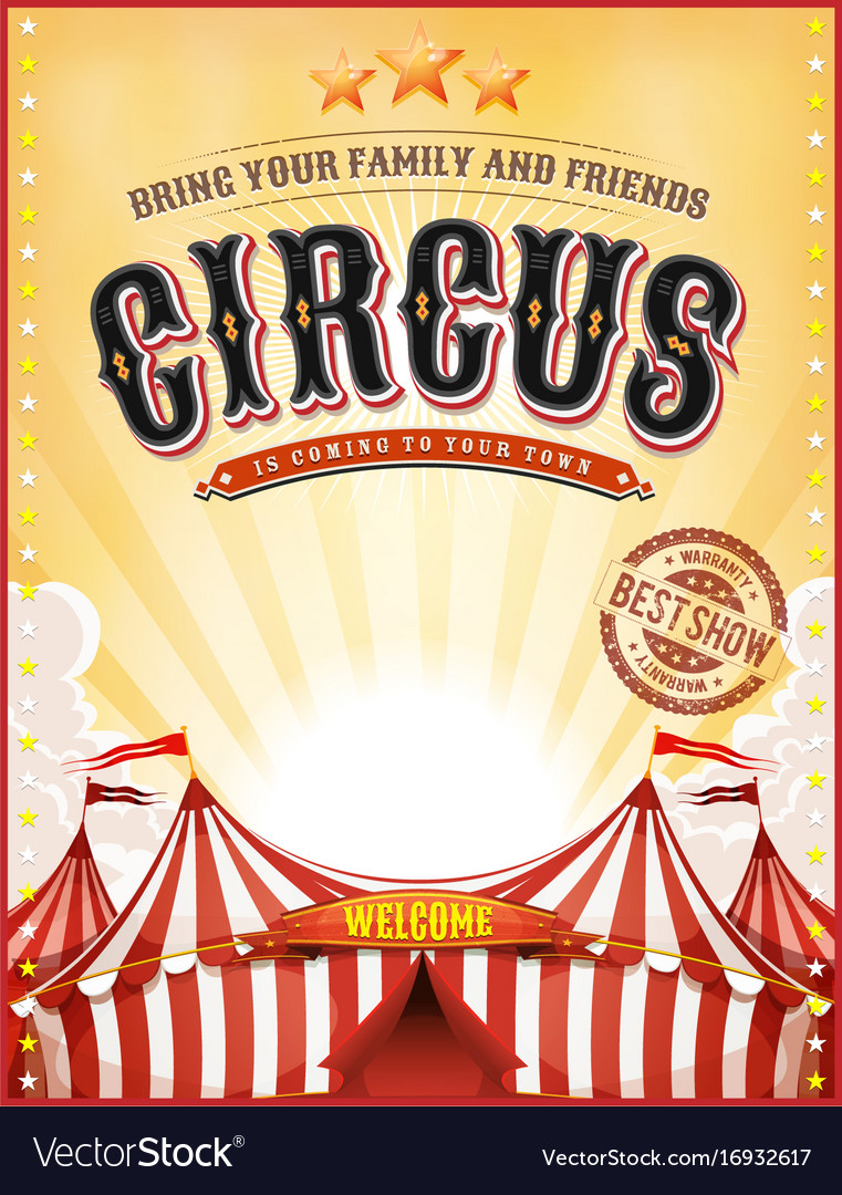 Vintage summer circus poster with big top vector image for Circus posters free