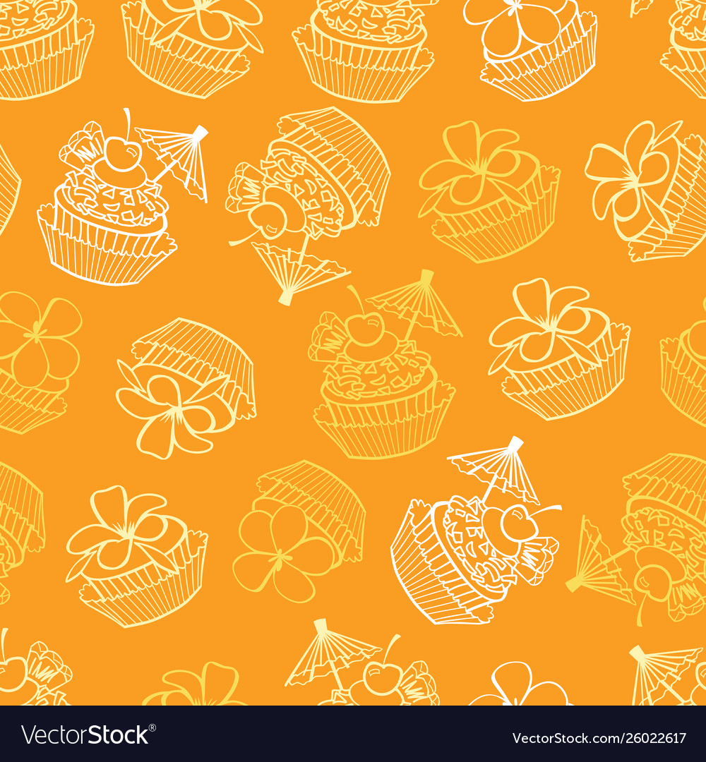 Yellow tropical birthday party cupcakes