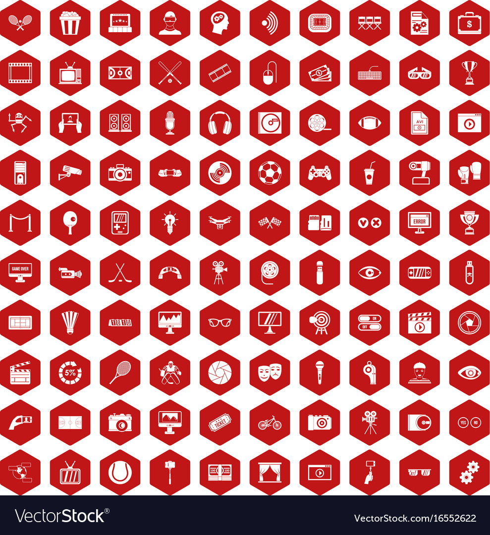 100 video icons hexagon red