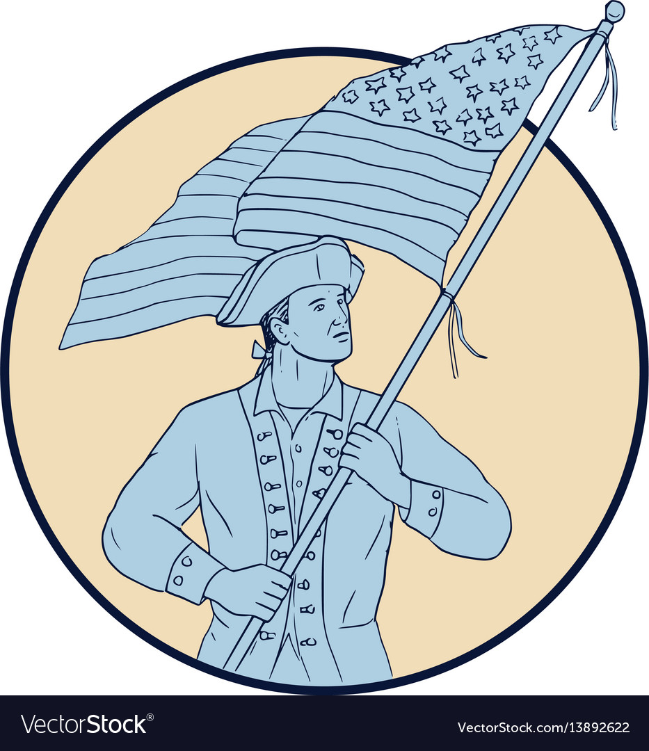 American patriot waving usa flag circle drawing
