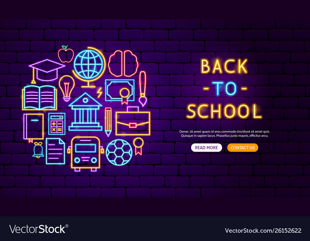 Back to school neon banner design